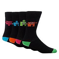 Red Herring - 4 pack black puzzle socks
