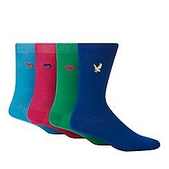 Red Herring - 4 pack multicoloured animal embroidered socks