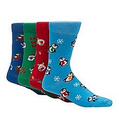 Red Herring - 4 pack multicoloured Christmas socks