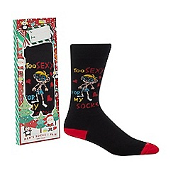 Debenhams - Black 'Too Sexy For My Socks' novelty socks