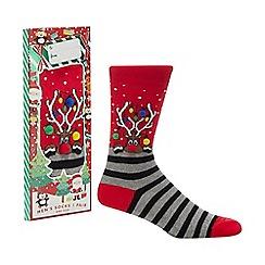 Debenhams Sports - Red reindeer novelty socks