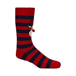 Debenhams - 2 pack multicoloured reindeer Christmas slipper socks