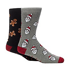 Debenhams - 2 pack multicoloured Christmas slipper socks