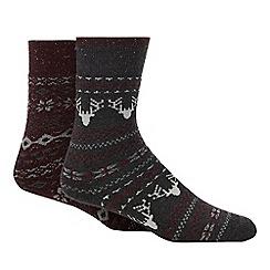 Debenhams - 2 pack multicoloured 'Fair Isle' print slipper socks