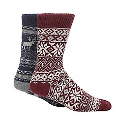 Red Herring - 2 Pack Multicoloured Fair Isle Socks