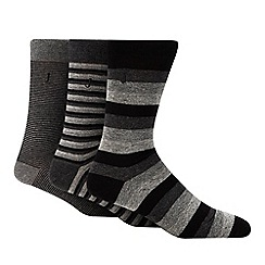 J by Jasper Conran - 3 pack grey striped socks