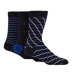 J by Jasper Conran - 3 pack navy geometric stripe print socks
