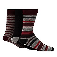 J by Jasper Conran - 3 pack multicoloured block stripe socks