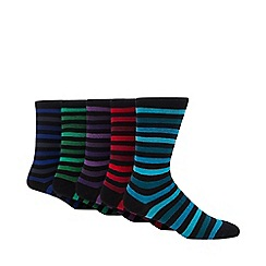 Freshen Up Your Feet - Pack of five black bold striped socks