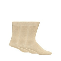 Debenhams - Pack of three beige plain socks