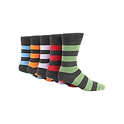 Freshen Up Your Feet - Pack of five grey rugby stripe socks