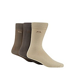 RJR.John Rocha - Pack of three natural ribbed socks