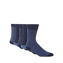 Freshen Up Your Feet - Pack of five navy striped socks