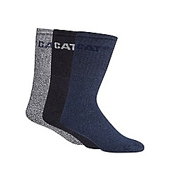 Caterpillar - Pack of three blue and navy boot socks