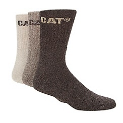 Caterpillar - Pack of three natural and brown boot socks