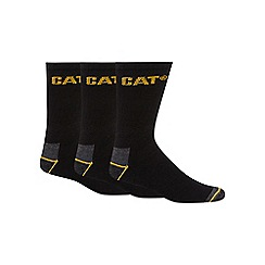 Caterpillar - Pack of three black pure cotton work socks