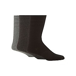 H.J.Hall - Pack of three grey tonal ribbed cotton rich 'Softop' socks
