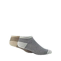 Debenhams Sports - Pack of two grey nautical striped socks