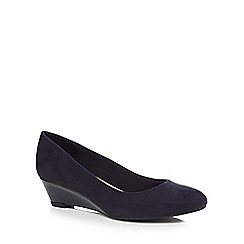 Good for the Sole - Navy suedette 'Gretchen' mid wide fit court shoes