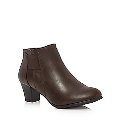 Good for the Sole - Brown 'Gean' mid wide fit ankle boots