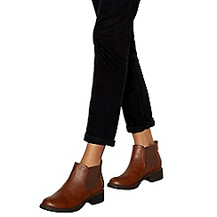 Good for the Sole - Tan 'Gia' mid heel wide fit Chelsea boots