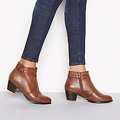 Good for the Sole - Chocolate brown 'Gerdie' mid block heel wide fit ankle boots
