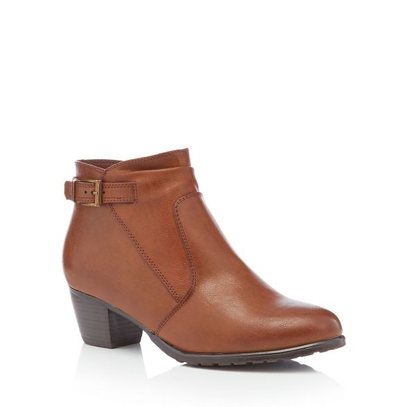ankle Sole the heel mid Chocolate for fit brown block Good wide boots 'Gerdie' wZxnqTP5fE