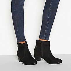 Good for the Sole - Black suedette 'Gerda' mid heel wide fit ankle boots