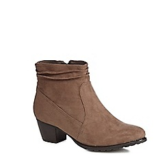 Good for the Sole - Taupe suedette 'Gerda' mid heel wide fit ankle boots