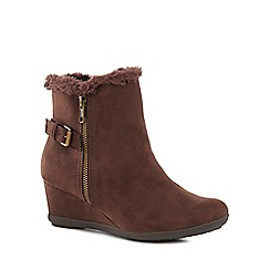 Good for the Sole - Brown suedette 'Gill' mid heel wide fit ankle boots