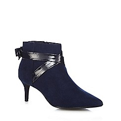 The Collection - Navy suedette 'Classy' mid kitten heel ankle boots
