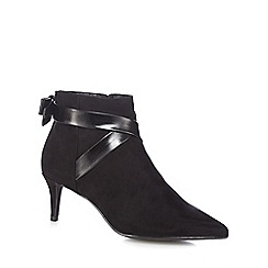 The Collection - Black suedette 'Classy' mid kitten heel ankle boots