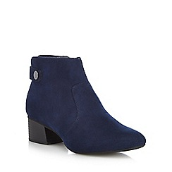 The Collection - Navy suedette 'Ciba' mid block heel ankle boots