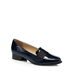 The Collection - Navy patent 'Coco' block heel loafers