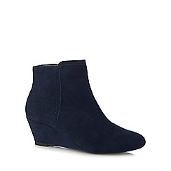 The Collection - Navy suedette 'Celby' mid wedge heel ankle boots