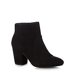 The Collection - Black suedette 'Cracker' mid block heel ankle boots