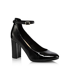 The Collection - Black patent 'Catyah' high block heel court shoes
