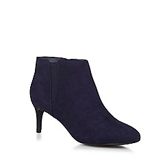 The Collection - Navy suedette 'Carolyn' mid kitten heel Chelsea  boots
