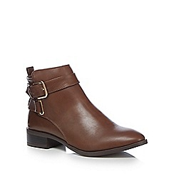The Collection - Brown 'Crawford' buckle ankle boots