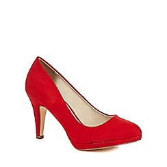 The Collection - Red suedette 'Carten' high stiletto heel wide fit court shoes