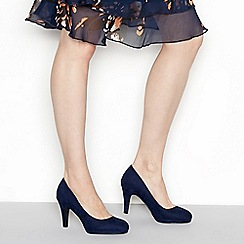 The Collection - Navy suedette 'Carten' high stiletto heel wide fit court shoes