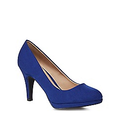 The Collection - Blue suedette 'Carten' high stiletto heel wide fit court shoes