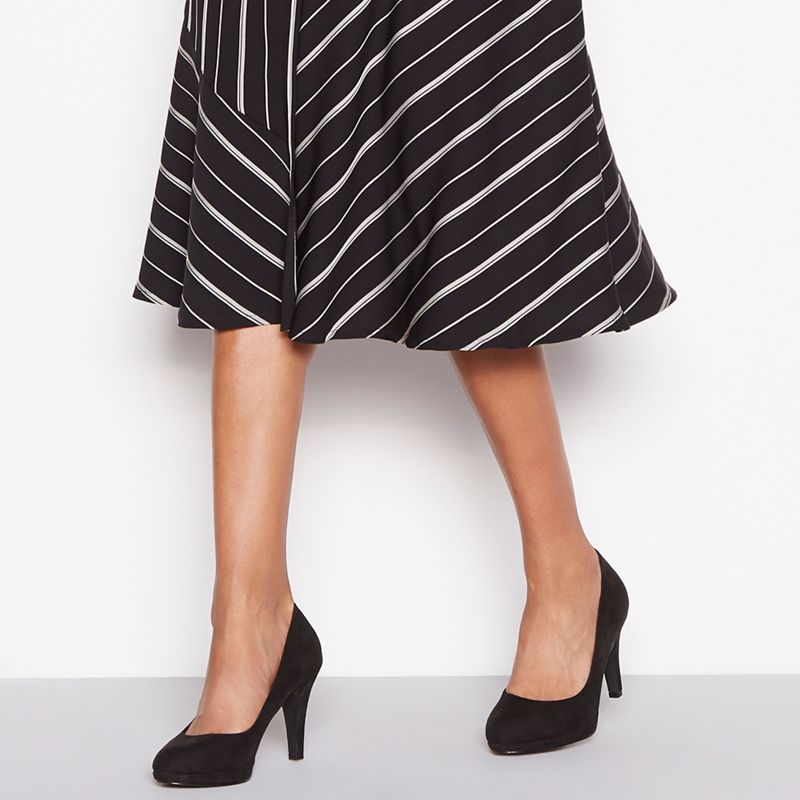 The Collection - Black Suedette Carten High Stiletto Heel Wide Fit Court Shoes