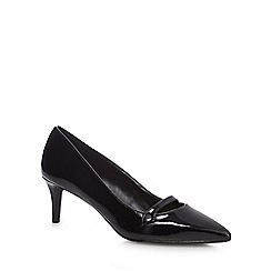 The Collection - Black 'Citten' mid kitten heel court shoes
