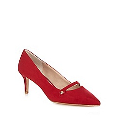 The Collection - Red suedette 'Citten' mid kitten heel wide fit court shoes