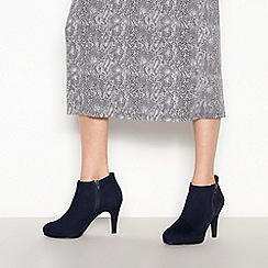 The Collection - Navy suedette 'Charlene' high stiletto heel wide fit shoe boots