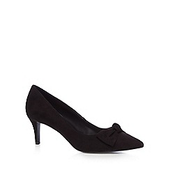 The Collection - Black 'Catherine' bow mid stiletto heel court shoes
