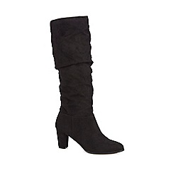 The Collection - Black suedette 'Celia' high block heel knee high boots