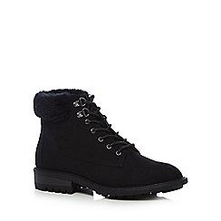 Mantaray - Black suedette 'Megan' lace up boots
