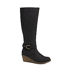 Mantaray - Black 'Macchiato' mid wedge heel knee high boots